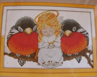 "Counted cross stitch Kit embroidery ""Ange nestled with birds"""