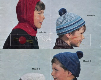Childrens Helmets & Caps 6-10 years DK Sirdar 765 Vintage Knitting Pattern PDF instant download