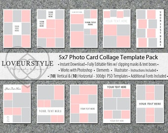 5x7 Photo Card Collage Template Pack, 20 Templates Included, Photo Collage, Card Templates, Photo Template, Invitation Templates, Cards