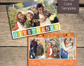 Give Thanks - Thanksgiving card - 7x5 Photoshop Card Template - INSTANT DOWNLOAD
