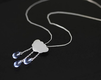 Rain Cloud Pendant White Cloud Blue Raindrop Pendant Sterling Silver Cloud Blue Crystal Raindrop Pendant Women Pendant Gift For Her