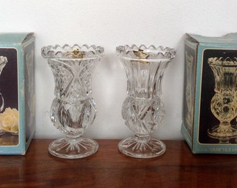 Lead Crystal Vases. A Pair of Kristal Vases in Original Packaging. 1970's.