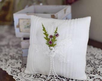 ringbearer pillow, winter wedding ringbearer pillow