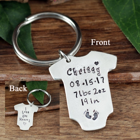 Baby Stats Keychain, New Baby Gift for Mom, Baby Announcement, Baby Statistics, Onesie Keychain, GIft for Dad, Baby Weight, Time, Date