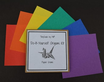 Do-It-Yourself Origami Kit - Paper Crane in bold rainbow
