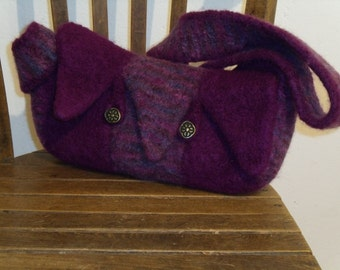 Drops felted bag in purple