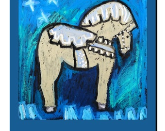 Dala Horse boy's room blue and cream nursery art print