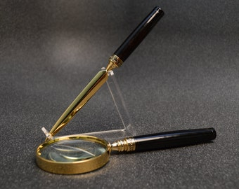 Magnifying Glass & Letter Opener  -  Gabon Ebony Wood with Gold and Black Trim