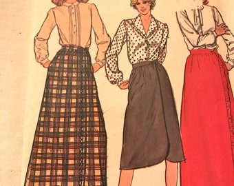 Vintage A-Line Wrap Skirt Pattern in Maxi or Below Knee Length---Butterick 3570---Size 16  Waist 30  UNCUT