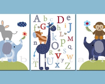 Art for Children Baby Boy Nursery Baby Boy Room Baby Nursery Decor Kids Wall Art Kids Art set of 3 Alphabet Giraffe Elephant Blue Navy