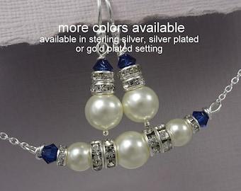 Dark Blue Wedding Jewelry, Navy Blue Bridesmaid Jewelry, Navy Necklace, Navy Earrings, Navy Wedding Jewelry, Bridal Shower Gift Jewelry
