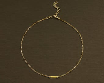 Gold Bar Choker - Delicate Choker Necklace