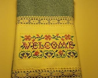 Handcrafted Cross stitch Fingertip Towel