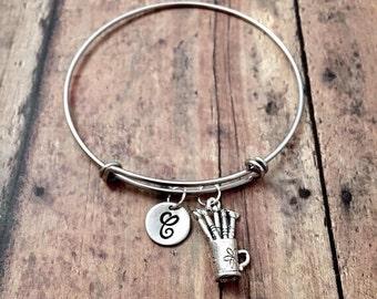 Paintbrush initial bangle - artist bracelet, paintbrush jewelry, art teacher jewelry, gift for artist, silver paintbrush bangle