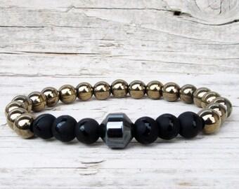 Men's Pyrite Bracelet, Black Onyx Stone, Hematite Bracelet, Men's Beaded Bracelet, Energy Bracelet, Mala Yoga Bracelet