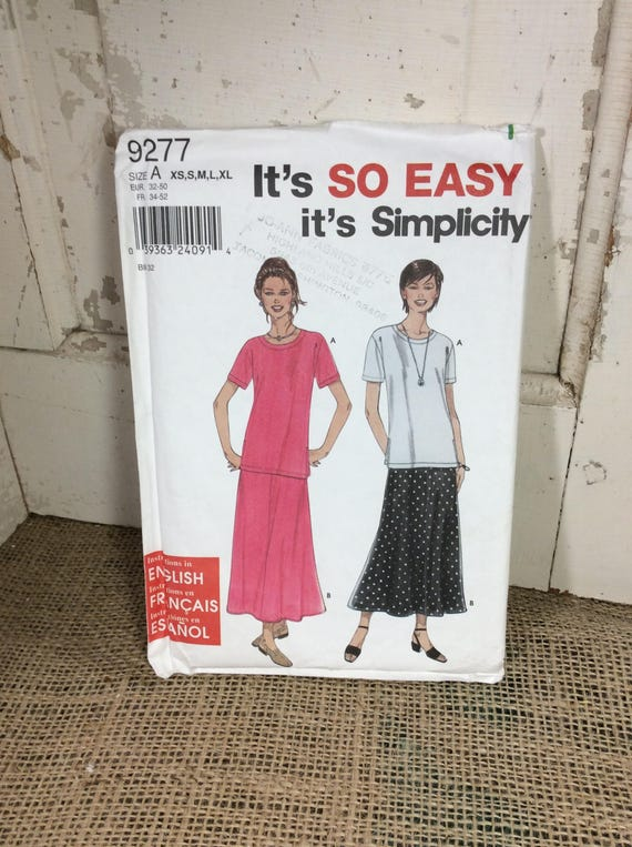 Simplicity pattern 9277 from 2000, Sew your own top and skirt, uncut pattern, it's so easy it's simplicity, 2.50 US shipping