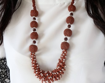 Brown Beaded Necklace - Bead Necklace - Long Boho Brown Beaded Necklace