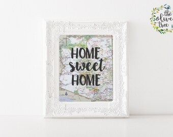 Arizona Home Sweet Home Map print, printable map wall art decor, INSTANT DOWNLOAD
