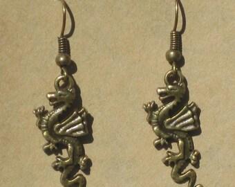 Small Brass Dragon Earrings