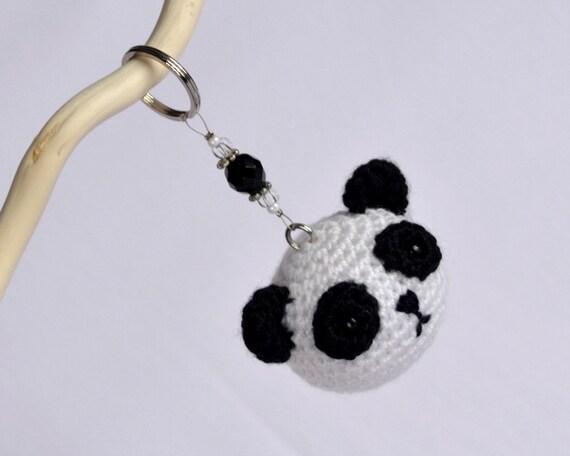 Llaveros Amigurumis Animales : Cute crochet amigurumi panda llavero pequeños animales hechos