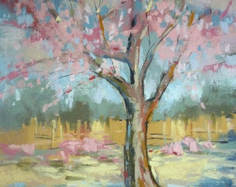 CherryTrees Spring Landscape Original Pastel Painting Karen Margulis 8x10