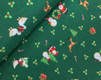 Under the Christmas Tree in Green from the Under the Christmas Tree 2017 Collection by Lecien, Choose the Cut, Christmas Fabric, Holiday