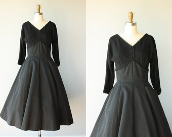 Vintage 50s Party Dress | 1950s Dress | 50s Wool Dress | 50s Formal Dress | Black Party Dress | 1950s Holiday Dress