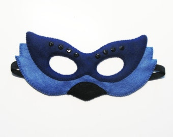 Bird Felt Mask for kids adults - Blue - handmade bird costume gift for boys girls - soft Dress Up play accessory - Theatre roleplay
