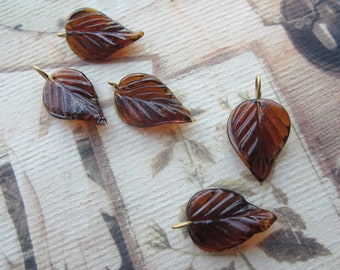 Topaz Wired Glass Leaf Charms Pendants Drops 24x14mm 5Pcs.