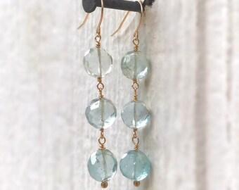 Aqua Earrings - Aquamarine Gemstone Jewellery -14k Gold Jewelry - Dangle - Luxe