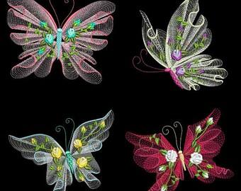 Embroidered  quilt blocks--Rippled Butterflies