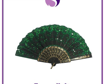 Green Spanish Style Dance Party Wedding Lace Silk Folding Hand Held Flower Fan