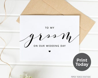 Printable Wedding Card TO GROOM, On Wedding Day cards, Bride to Groom card, Card for Groom, Wedding card download, GroomThank you card