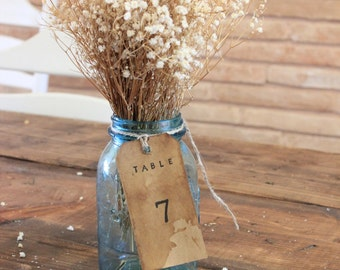 Rustic  Table Number / Distressed Aged Tags / Rustic Woodland Table Number Tag / Kraft Paper Rustic Table Numbers / Table Centerpiece