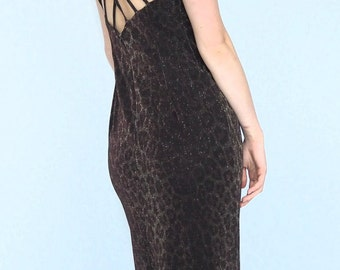 Vintage Shiny Leopard Print Long Party Dress