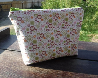 Pink Heart Fabric - Zippered Pouch Bag - Zippered Bag - Cosmetic Case - Back To School - Cosmetic Bag - Cosmetic Pouch - Polka Dots - Hearts