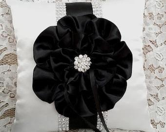 Black & White Wedding, Ring Bearer Pillow, Bling Ring Bearer Pillow, Black Satin Flower, Black Trim and Rhinestone Mesh Trim, Wedding Pillow
