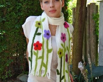Handmade felt scarf, shawl, handfelted with floral motif, flowers. SALE