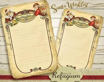 Christmas wish list,printable, Invitation Card, Dear Santa, INSTANT DOWNLOAD,  Digital Collage Sheet