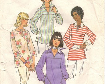 1970s Vintage Sewing Pattern - 70s Pullover Top - Bohemian Shirt Pattern -  Blouse - Hipster Fashion - DIY - Womenswear - Simplicity 7446