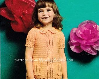 Vintage Crochet Childs Girls DRESS Pattern PDF B127 from WonkyZebra
