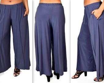Comfy Plus Pants, Gray Pants, Tiered Pants, Plus Size Pants, Lagenlook Pants, Palazzo Pants, Palazzao Pnts, Size XL To 5XL