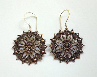 Copper Medallion Earrings Sterling Silver Earwires