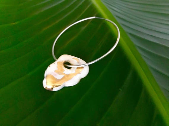 Cloud on the Hoop Ceramic Gold Luster Earring - Single