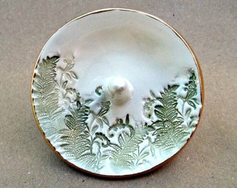 Ceramic Ring Holder Ring Bowl  Ring Dish Ferns edged in gold