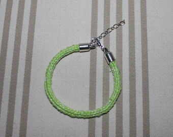 Green cotton knit iridescent lime and silver bracelet