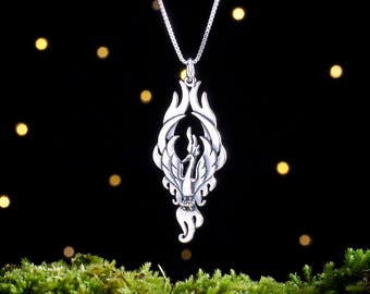 Sterling Silver Phoenix Pendant - Double Sided - (Pendant Only, No Chain) [CLEARANCE]