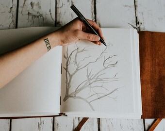 Leather Sketchbook   Leather notebook   Large sketchbook , leather journal, initials journal, sketchbook portfolio