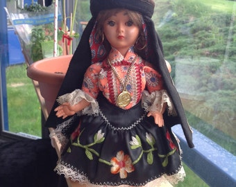 Unique vintage doll i traditional handmade folk costumes