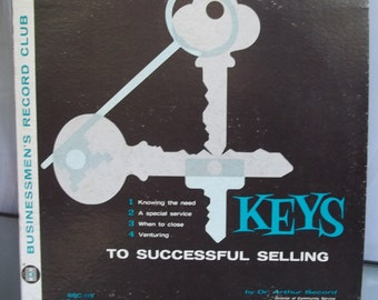 Four Keys to Successful Selling, Dr. Arthur Secord, Vintage Record Album, Businessmen's Record Club, Motivational Speaker, Brooklyn College